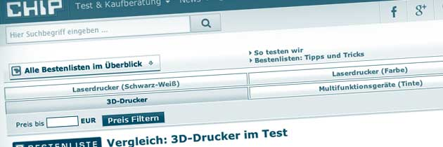 3D Drucker Übersicht der aktuellen Tests